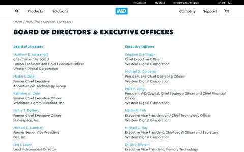 Screenshot of Team Page wdc.com - Board of Directors & Executive Officers | Western Digital (WD) - captured April 21, 2018