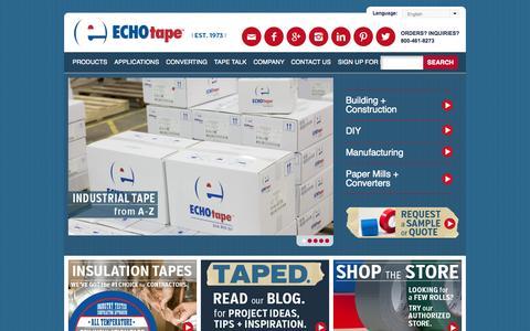 Screenshot of Home Page echotape.com - Industrial Tape  | ECHOtape - captured Sept. 26, 2014