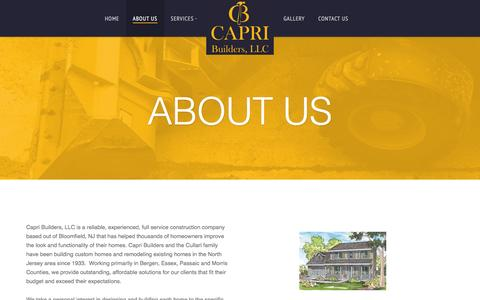 Screenshot of About Page wellbuiltnj.com - About Us - Capri Builders, LLC - captured Jan. 25, 2016