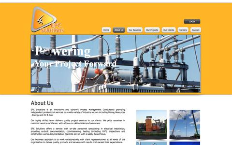 Screenshot of About Page epcsolutions.com.au - epc solutions, electrical contractors, project management, electrical project managers, | About Us - captured Sept. 25, 2018