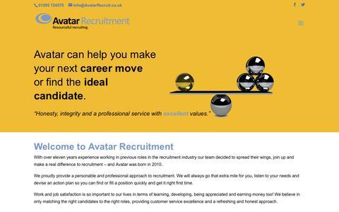 Screenshot of Home Page avatarrecruit.co.uk - Welcome   Avatar Recruitment - captured Oct. 4, 2018