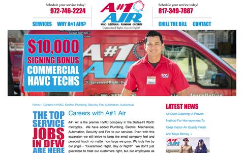 Screenshot of Jobs Page anumber1air.com - Careers in HVAC, Electric, Plumbing, Security, Fire, Automation, Audiovisual | A#1 Air - captured Oct. 3, 2014