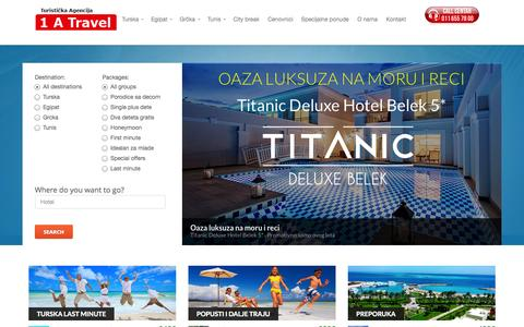 Screenshot of Home Page 1atravel.rs - 1 A Travel - Turistička agencija - captured Sept. 23, 2014