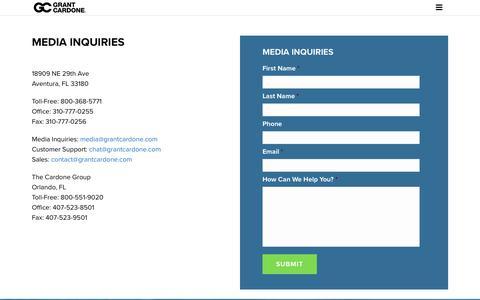 Screenshot of Press Page grantcardone.com - Media Inquiries - Grant Cardone - captured July 27, 2018