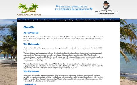 Screenshot of About Page chabadcenterpalmbeach.com - Top Events in Palm Beach, Event in South Florida | Chabad of Palm Beach Headquarters - captured Oct. 2, 2014