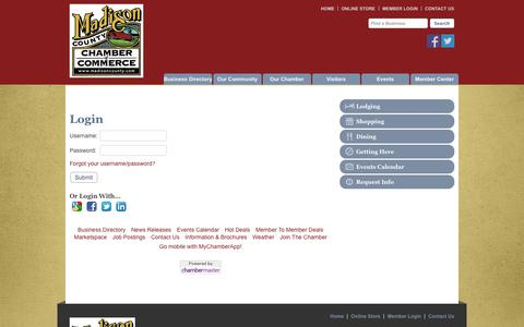 Screenshot of Login Page madisoncounty.com - Login - Madison County Chamber of Commerce - Madison County, IA - captured Oct. 3, 2014