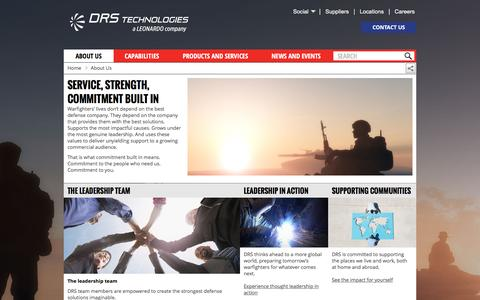 Screenshot of About Page drs.com - Service, strength, commitment built in | DRS Technologies, Inc. - captured Nov. 23, 2016