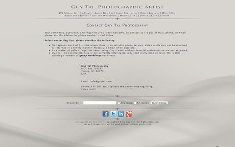 Screenshot of Contact Page guytal.com - Contact Guy Tal Photography - captured Jan. 17, 2016