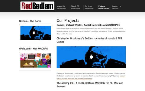 Screenshot of Case Studies Page redbedlam.com - Case Studies | Virtual Worlds | Social Games | Tablet Games | MMO's - captured Oct. 7, 2014