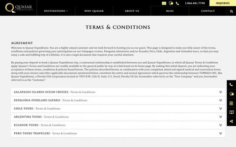 Screenshot of Terms Page quasarex.com - Terms & Conditions for Quasar Expeditions - captured Sept. 30, 2018