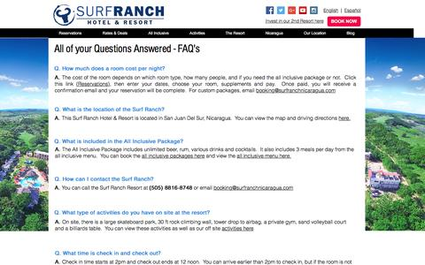 Screenshot of FAQ Page surfranchnicaragua.com - Frequently Asked Questions |  Surf Ranch Hotel & Resort - captured Sept. 23, 2016