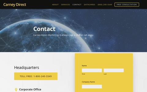 Screenshot of Contact Page carneydirect.com - Contact | Carney Direct - captured Sept. 27, 2018