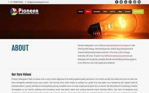 Screenshot of About Page pioneerwebsystem.com - Internet Marketing | Offshore web Development Company in India - Pioneer WebSystem - captured May 9, 2016
