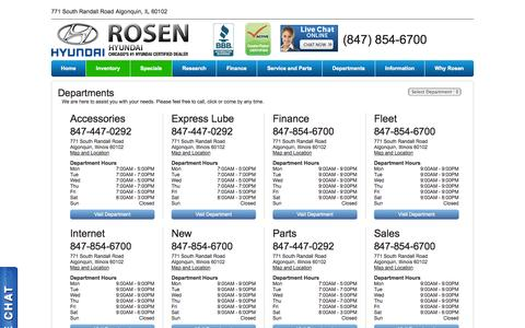Screenshot of Hours Page rosenhyundai.com - Rosen Hyundai Departments | Illinois Hyundai Dealer - captured Oct. 6, 2014