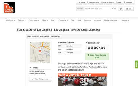 Screenshot of Locations Page lafurniturestore.com - LA Furniture Store locations in Los Angeles, New York & Vernon, CA - captured July 16, 2015