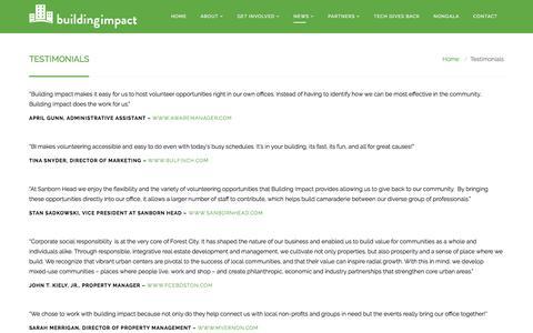 Screenshot of Testimonials Page buildingimpact.org - Building Impact | Testimonials | Building Impact - captured July 30, 2016