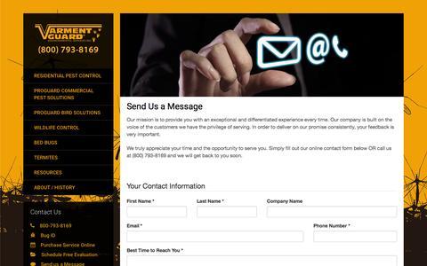 Screenshot of Contact Page varmentguard.com - Contact Varment Guard - captured Feb. 13, 2016