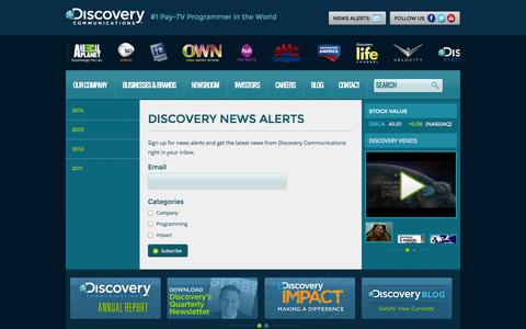Screenshot of Signup Page discovery.com - Discovery News : Discovery Communications - captured Sept. 19, 2014