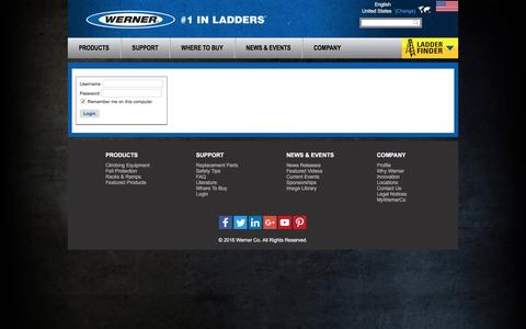 Screenshot of Login Page wernerco.com - Home - captured Aug. 30, 2016