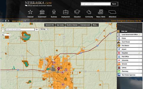 Screenshot of Maps & Directions Page nebraska.gov - Nebraska.gov - captured Sept. 23, 2014