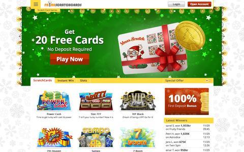 Screenshot of Home Page primescratchcards.com - Online Scratch Cards - 20 FREE Games | PrimeScratchCards - captured Dec. 2, 2015