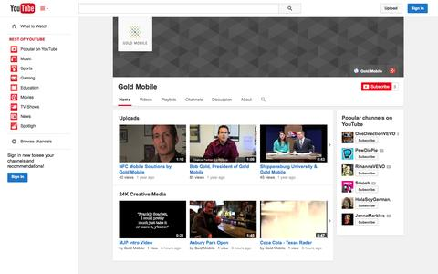 Screenshot of YouTube Page youtube.com - Gold Mobile  - YouTube - captured Oct. 22, 2014