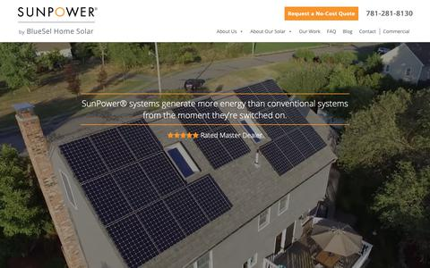 Screenshot of Home Page bluesel.com - SunPower® By BlueSel | Home Solar Panel & Solar Energy Solutions - captured Nov. 13, 2018