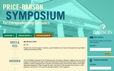 Screenshot of Landing Page babson.edu - Price-Babson Symposium for Entrepreneurship Educators - captured Aug. 26, 2016