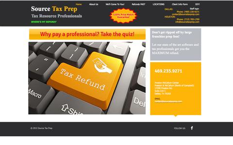Screenshot of Home Page sourcetaxprep.com - Source Tax Prep Income Tax in Dallas and Houston - captured Oct. 7, 2014