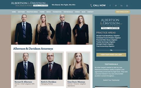 Screenshot of Team Page aldavlaw.com - Meet Our Team | The Attorneys of Albertson & Davidson, LLP - captured Feb. 5, 2016