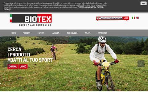 Screenshot of Home Page biotex.it - Biotex - Underwear Innovator - captured Oct. 14, 2015