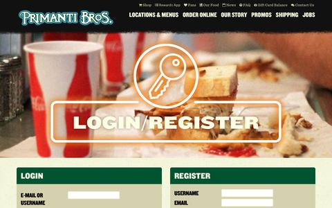 Screenshot of Login Page primantibros.com - Account Login & Registration   Primanti Brothers - captured Dec. 12, 2018