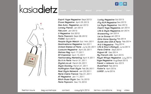 Screenshot of Press Page kasiadietz.com - Kasia Dietz handbags | press - captured Nov. 27, 2016