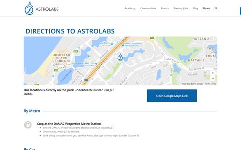 Screenshot of Maps & Directions Page astrolabs.com - AstroLabs Directions - captured July 26, 2016
