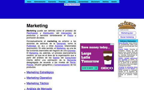 Screenshot of eco-finanzas.com - Marketing - captured Jan. 16, 2018
