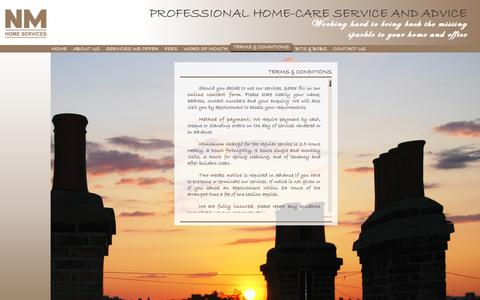 Screenshot of Terms Page nmhomeservices.co.uk - NM Home Services - captured Oct. 26, 2014