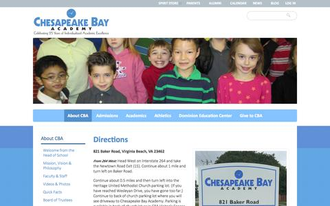 Screenshot of Maps & Directions Page cba-va.org - Directions | Chesapeake Bay Academy | Educating students with learning differences in Virginia Beach, Norfolk and Chesapeake. - captured Nov. 1, 2014