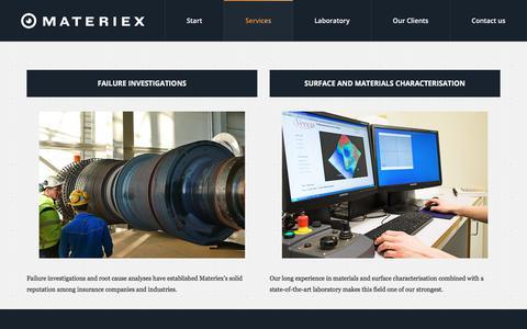 Screenshot of Services Page materiex.com - Services - Materiex - captured Oct. 17, 2017