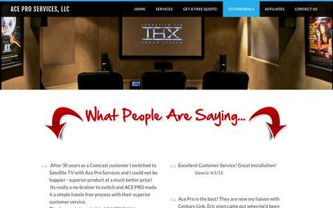 Screenshot of Testimonials Page ace1m.com - Testimonials - ACE Pro Services, LLC - captured Feb. 4, 2016