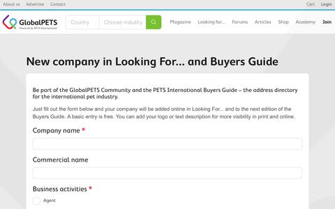 Screenshot of Signup Page globalpets.community - New company in Looking For... and Buyers Guide   GlobalPETS Community - captured July 12, 2017