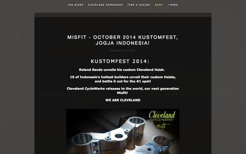 Screenshot of Blog clevelandcyclewerks.com - News — Cleveland CycleWerks - captured Sept. 19, 2014