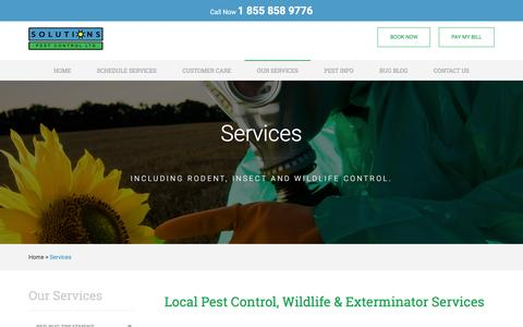 Screenshot of Services Page pestsolutions.ca - Services - Solutions Pest Control - captured Feb. 15, 2016