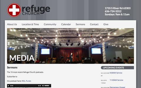 Screenshot of Press Page seekrefuge.net - Media – Refuge Church - captured Oct. 1, 2014