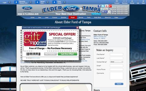 Screenshot of About Page Hours Page elderfordoftampa.com - About Elder Ford of Tampa | New & Used Car Dealer Near Clearwater, St. Petersburg, and Brandon, FL - captured Oct. 26, 2014