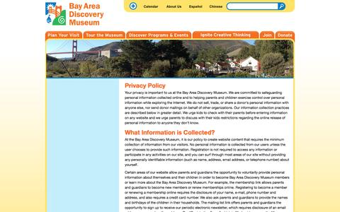 Screenshot of Privacy Page baykidsmuseum.org - Privacy | Bay Area Discovery Museum - captured Sept. 24, 2014
