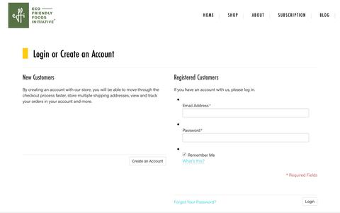 Screenshot of Login Page effifoods.com - Customer Login - captured Nov. 4, 2018