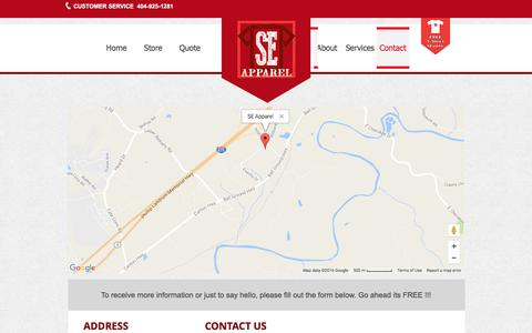 Screenshot of Contact Page seapparelinc.com - SE Apparel Inc. - Contact - captured Nov. 17, 2016