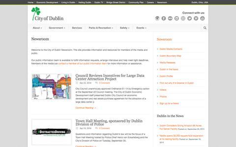 Screenshot of Press Page dublinohiousa.gov - Newsroom - Dublin, Ohio, USA - captured Sept. 23, 2014