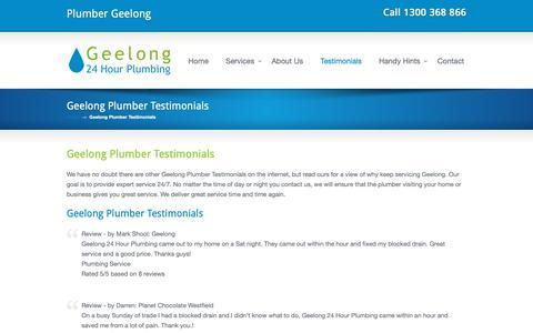 Screenshot of Testimonials Page geelong24hourplumbing.com.au - Geelong Plumber Testimonials - Geelong 24 Hour Plumbing Geelong 24 Hour Plumbing - captured Dec. 10, 2018