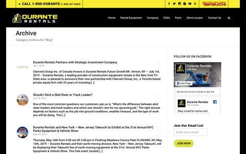 Screenshot of Blog duranterentals.com - Blog Archives   Rent Construction Equipment in NY, NJ, CT   Durante Rentals   Call 1-800-DURANTE - captured July 7, 2019